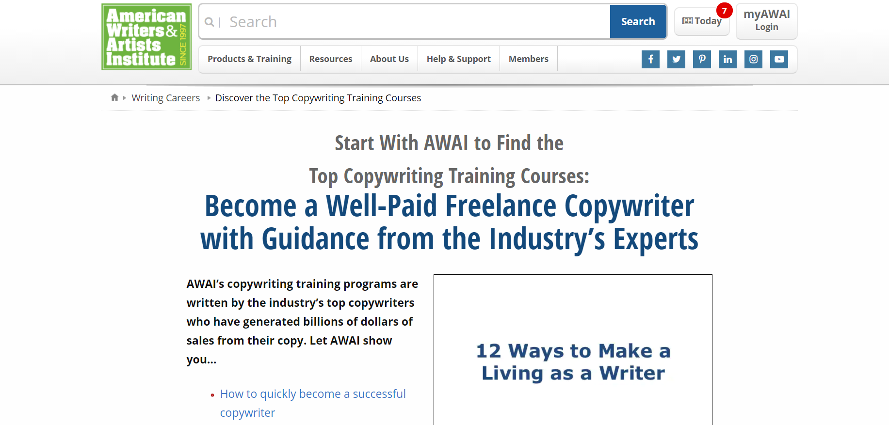 Landing page image for Copywriting Course AWAI